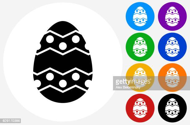 Easter Egg Icon on Flat Color Circle Buttons