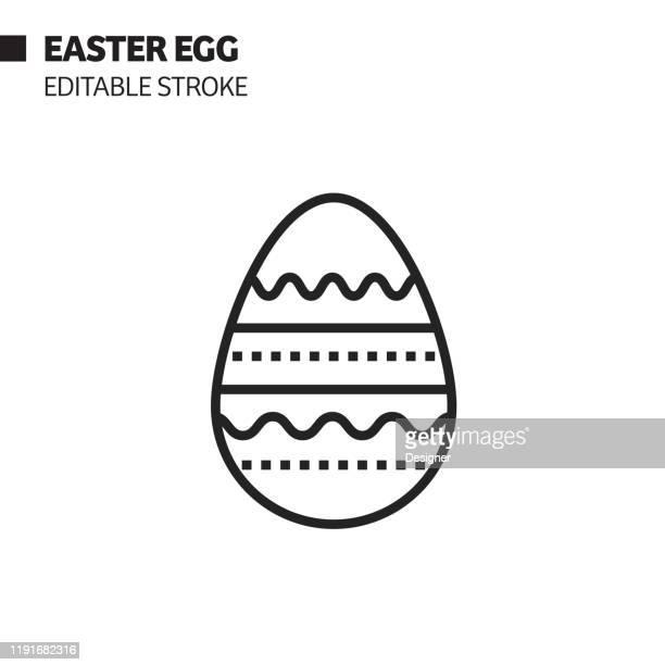 easter egg line icon, outline vector symbol illustration. pixel perfect, editable stroke. - easter egg stock illustrations