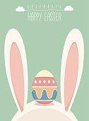 Easter egg on the bunny head, Vector Illustration