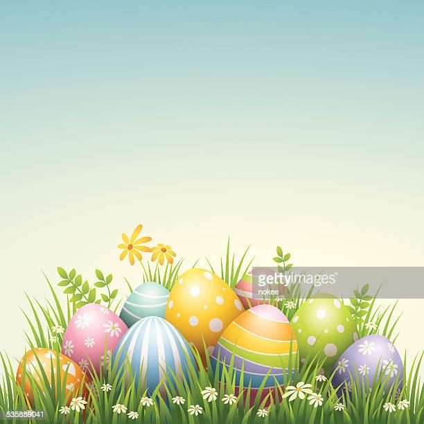 easter egg - pile - easter stock illustrations