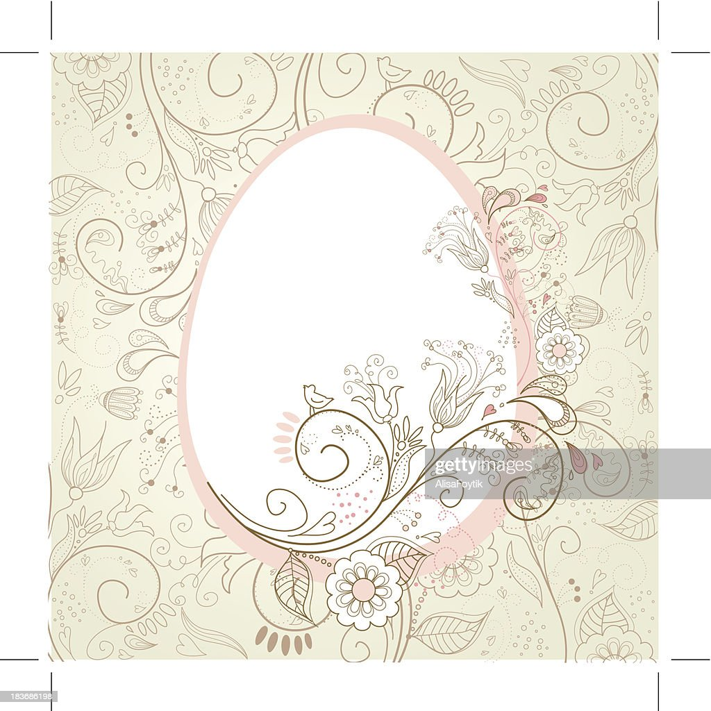 Easter egg with floral elements.