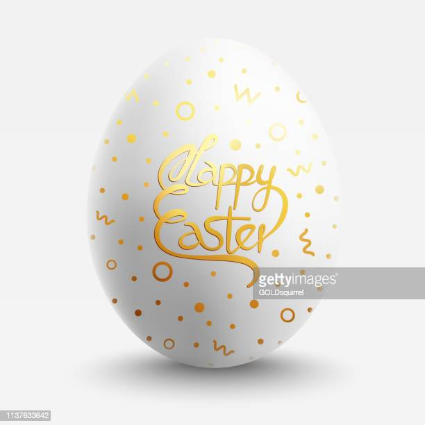 Easter Egg with little gold painted patterns and handwritten text - one object staying in the middle of composition with realistic light and shades - vector file isolated on white background