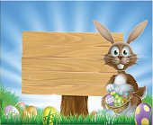 Easter eggs bunny and wooden sign