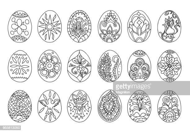 Pasen eieren Doodles set