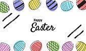Easter eggs hand drawn black on white background. Happy Easter - banner, poster. Vector illustration