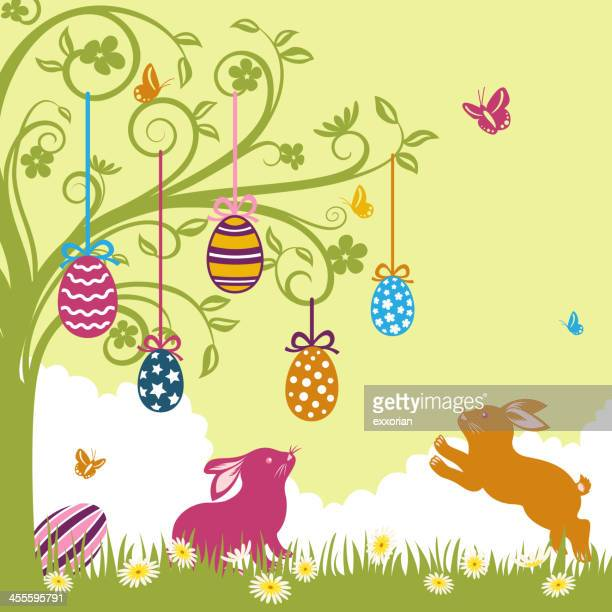 easter eggs hang up in the whimsical tree - easter egg hunt stock illustrations, clip art, cartoons, & icons