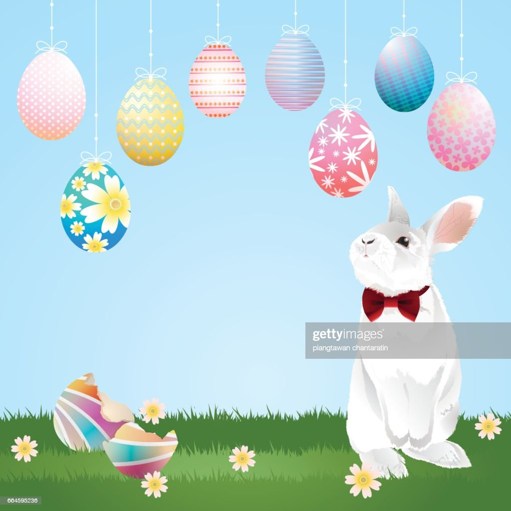 easter eggs hanging and bunny
