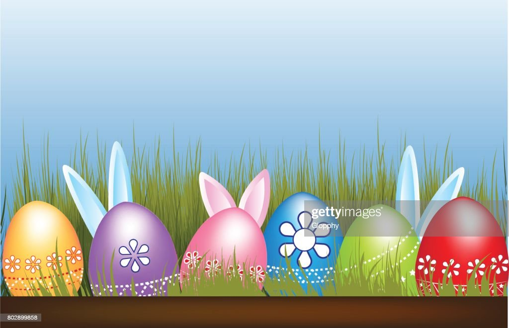 easter eggs hunt flowers grass hidden bunnies blue sky symbol background vector art
