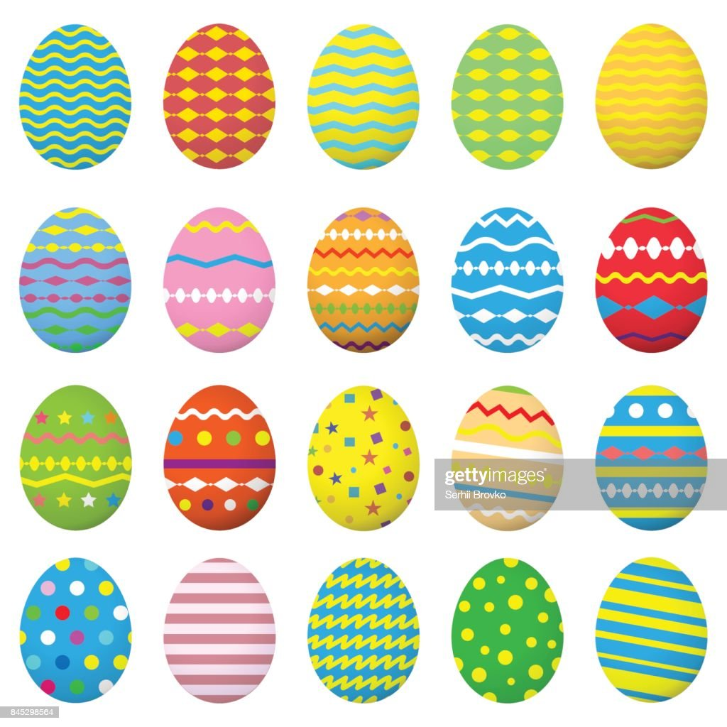 Easter eggs icons set. Collection eggs.