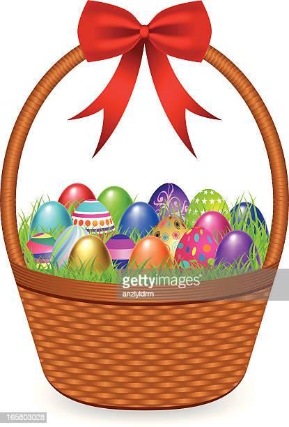 easter eggs in a basket - easter basket stock illustrations