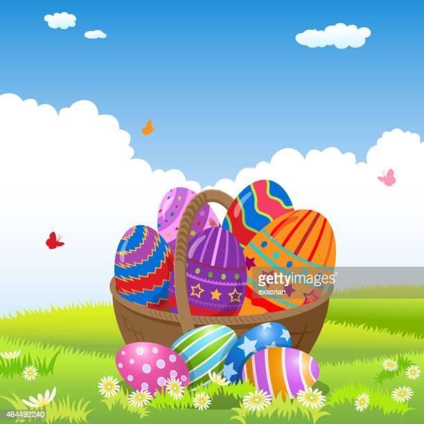 easter eggs in a basket - easter egg hunt stock illustrations, clip art, cartoons, & icons