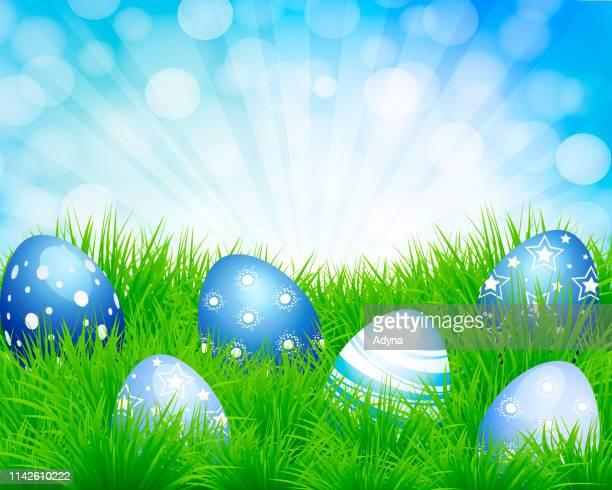 easter eggs in grass - easter egg hunt stock illustrations, clip art, cartoons, & icons