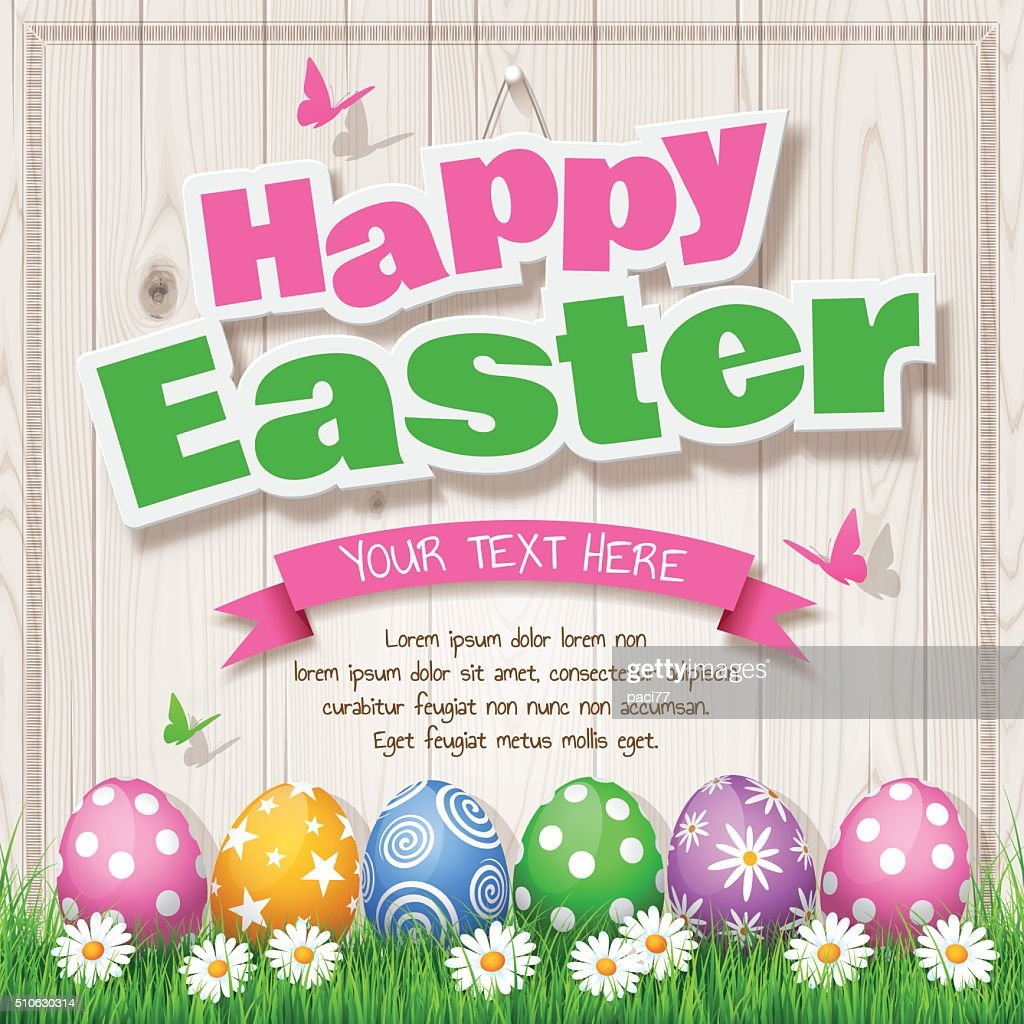 Easter Eggs on Wood background with text 'Happy Easter' : Vector Art