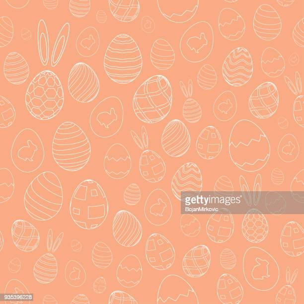 easter eggs, rabbit ears and bunny seamless pattern. orange background. vector illustration. - easter sunday stock illustrations
