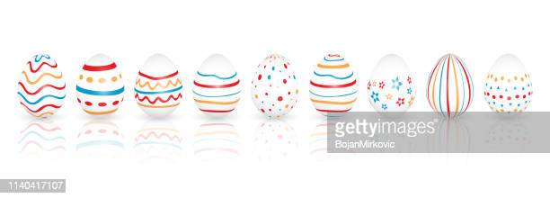easter eggs with different patterns. vector illustration. - easter sunday stock illustrations
