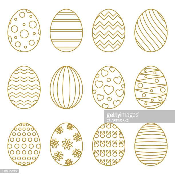 easter eggs with linear multicolor pattern - easter egg stock illustrations