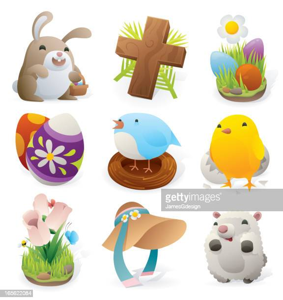easter elements - bonnet stock illustrations, clip art, cartoons, & icons