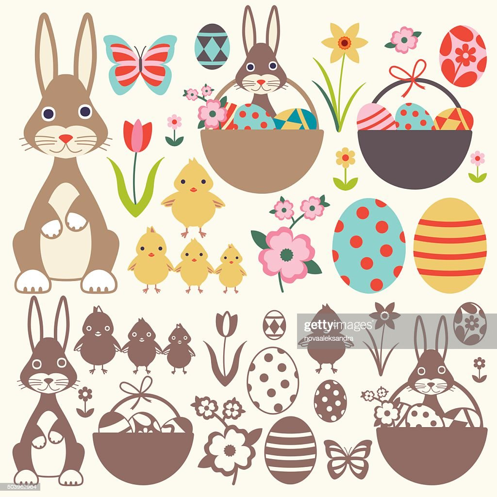 Easter elements vector set