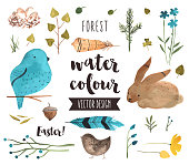 Easter Elements Watercolor Vector Objects