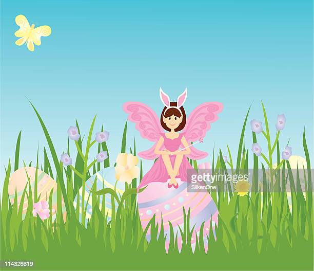 easter fairy - easter bunny costume stock illustrations, clip art, cartoons, & icons