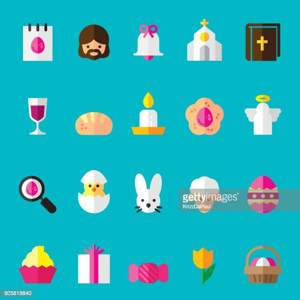 ilustraciones, imágenes clip art, dibujos animados e iconos de stock de planos iconos de pascua - roscadepascua