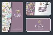 Easter flyer and business cards set. Background for advertisement, invitation, brochure template. Hand drawn doodle cartoon style spring holiday concept. Vector illustration.