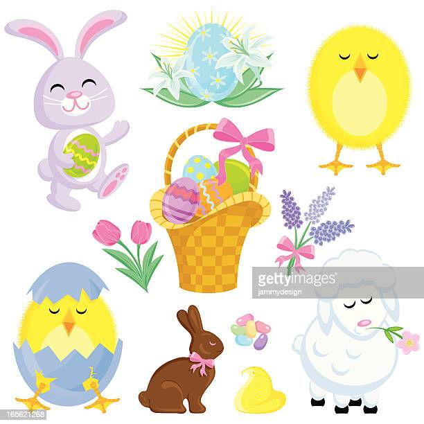 easter friends - easter bunny stock illustrations