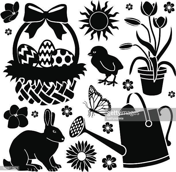 easter garden - easter lily stock illustrations