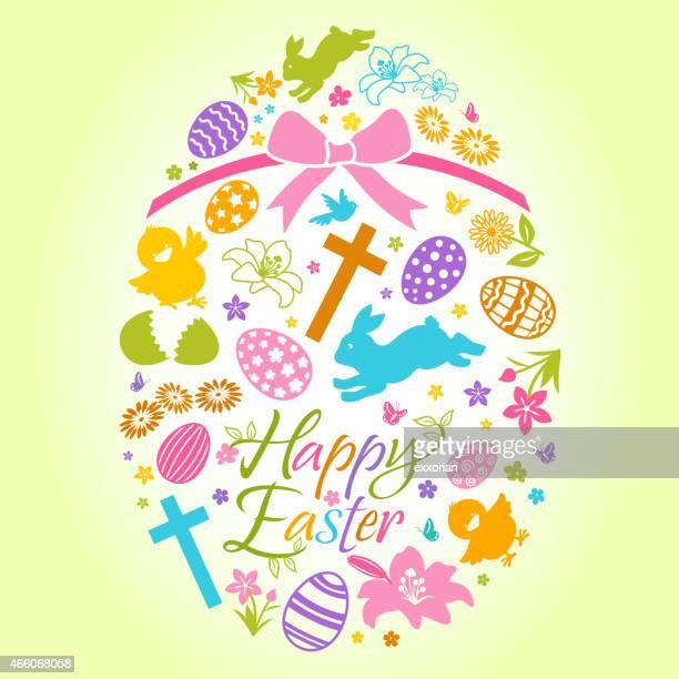 illustrazioni stock, clip art, cartoni animati e icone di tendenza di pasqua con elementi grafici a forma di uovo di pasqua - colomba pasqua