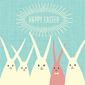 Easter greeting card design with group of happy rabbits, Easter bunnies