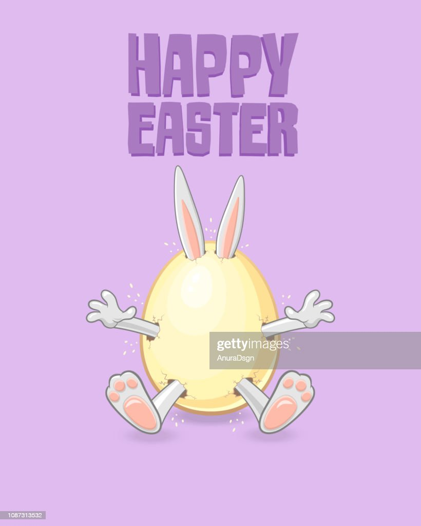Easter greeting card - Happy Easter bunny get out of egg isolated on purple background