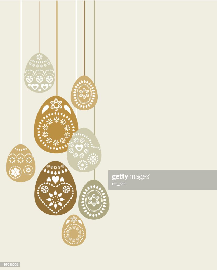 Easter Greeting Card Layout With Decorative Vector Eggs Vector Art