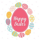 Easter greeting card with dotted and striped colorful eggs