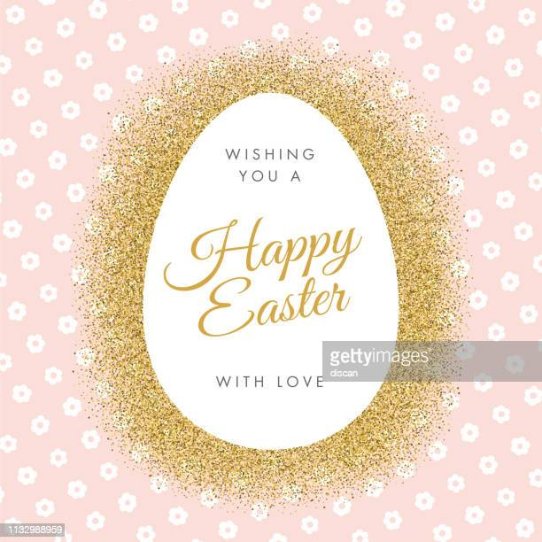 easter greeting card with egg on glitter background. - easter sunday stock illustrations