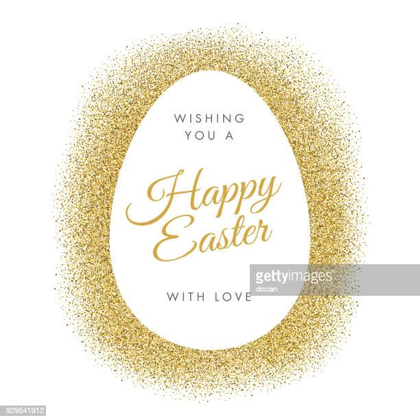 easter greeting card with egg on glitter background. - easter stock illustrations