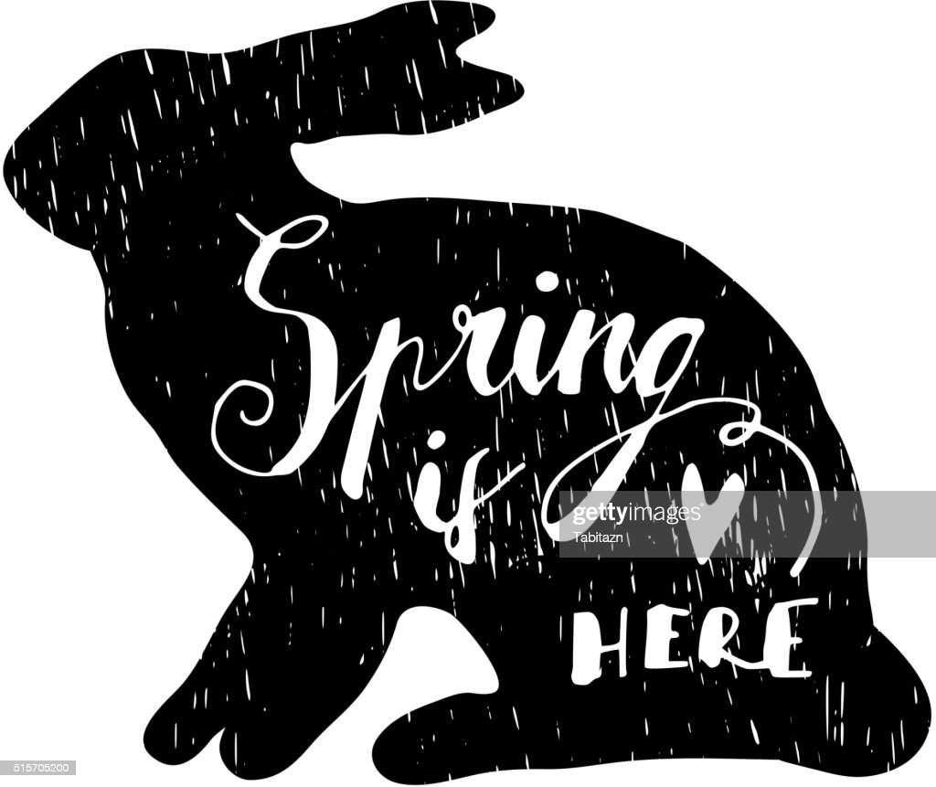 Easter greeting card with hand drawn silhouette of rabbit, vector