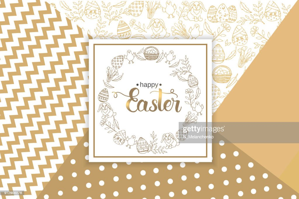 Easter Greeting Card with paschal hand drawn symbols, hand made trendy lettering 'Happy Easter' on golden Modern Geometric Background . Vector illustration. Banner, flyer, brochure, postcard, for web