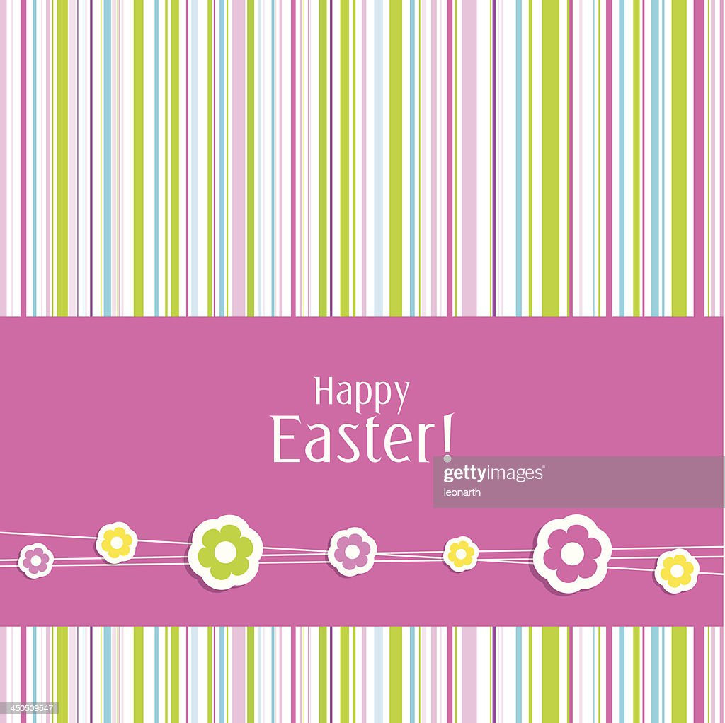 Easter greeting card with vertical colored stripes