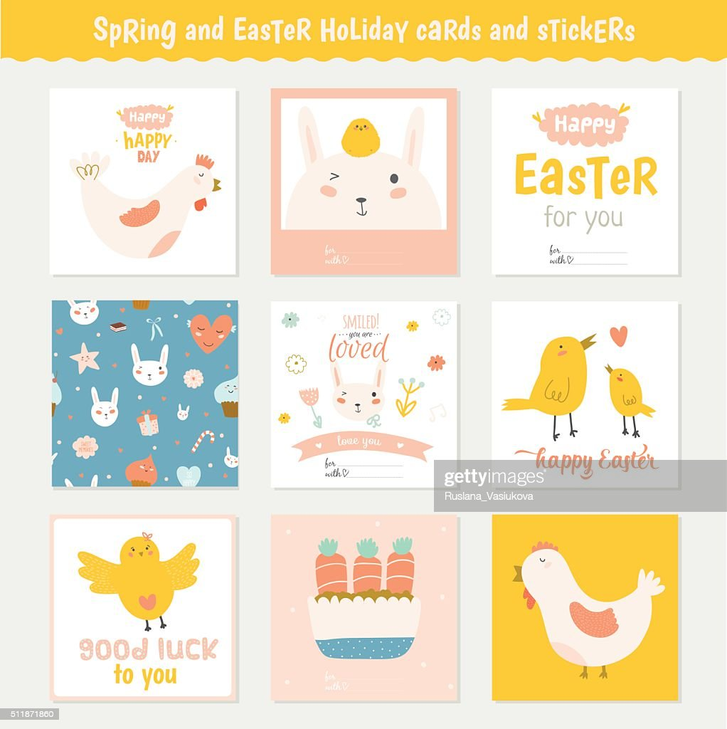 Easter Greeting Cards Tags Stickers And Labels Vector Art Getty Images