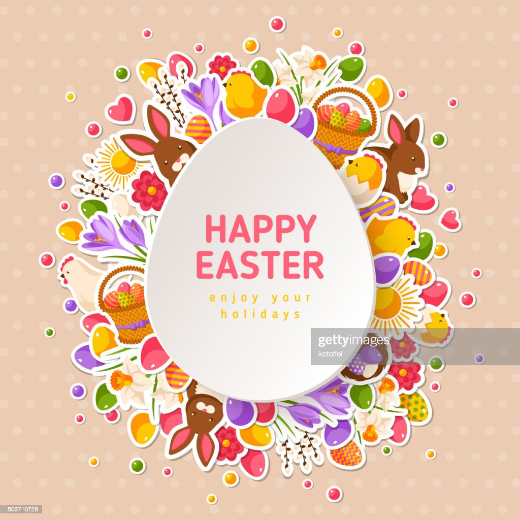 Easter Greeting Cards with Paper Cut Easter Egg