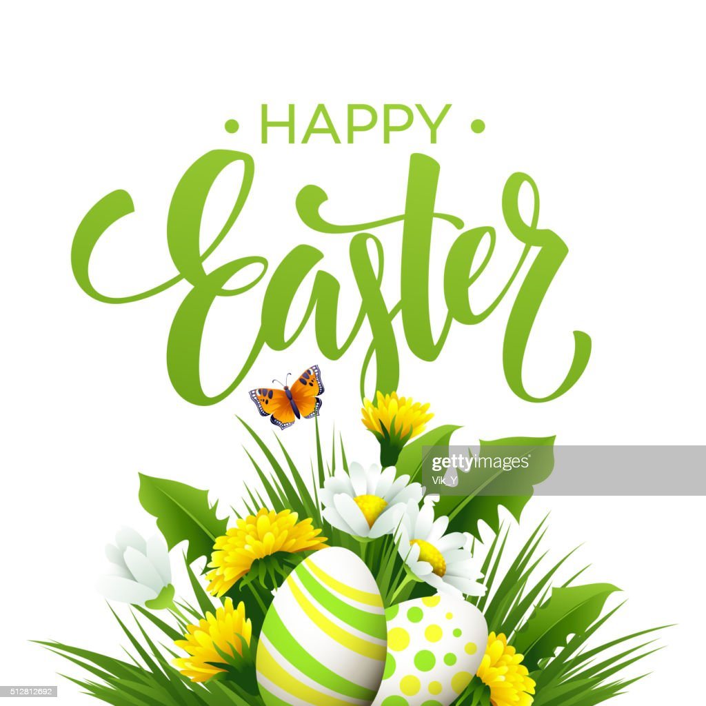 Easter greeting. Lettering Flower Egg. Vector illustration