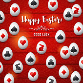 Easter greetings card with red and black gambling symbols over white eggs, vector illustration.Suitable for invitations, greeting cards, flyers, banners.