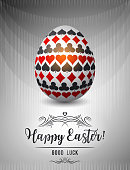 Easter greetings card with red and black gambling symbols over white egg, vector illustration.Suitable for invitations, greeting cards, flyers, banners.