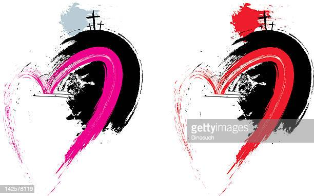 easter grunge heart - jesus christ stock illustrations, clip art, cartoons, & icons