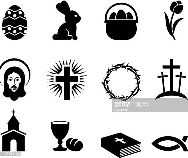 easter holiday black and white royalty free vector icon set - christianity stock illustrations