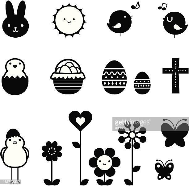Easter Holiday Icon Set, design elements in black and white