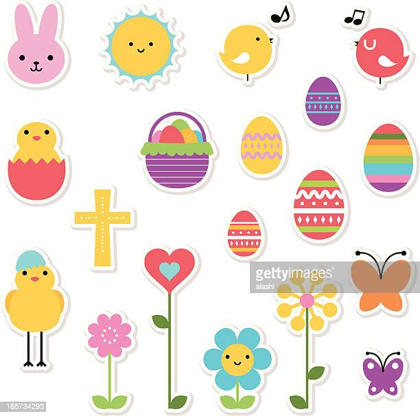 easter holiday icon set, design elements in multi colored - easter bunny stock illustrations, clip art, cartoons, & icons