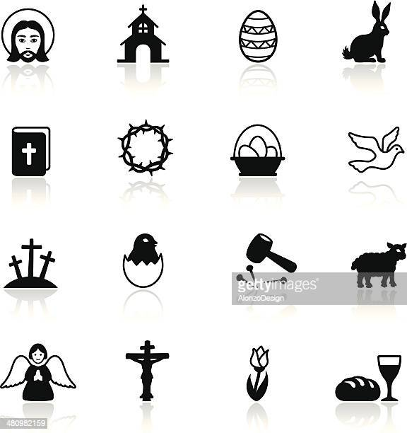 ilustraciones, imágenes clip art, dibujos animados e iconos de stock de conjunto de iconos de vacaciones de pascua - corona de espinas