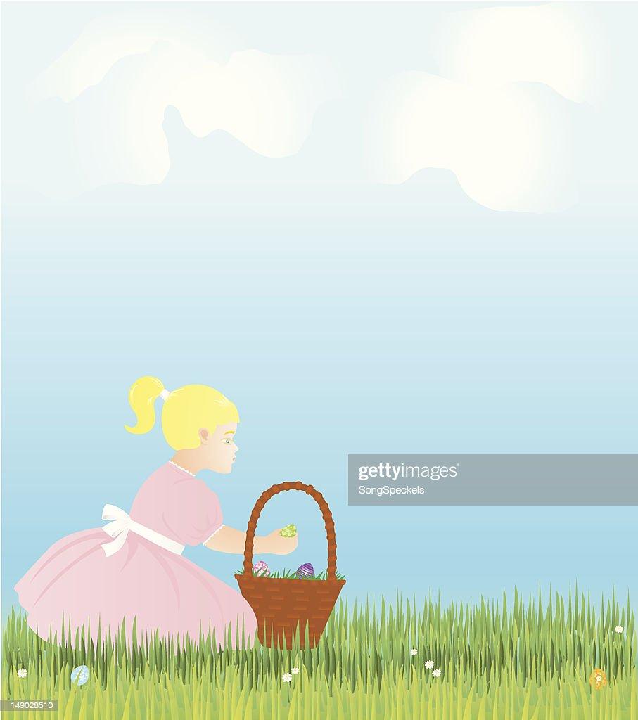 Páscoa cena com garota, cesta e ovos : Ilustração