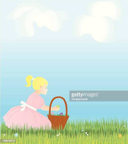 easter holiday scene with girl, basket and eggs - sunday best stock illustrations, clip art, cartoons, & icons